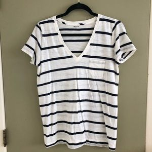 Navy striped Madewell V-neck